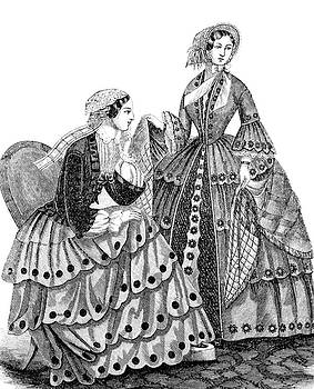 1850s Engraving Of Womens Fashions by Vintage Images