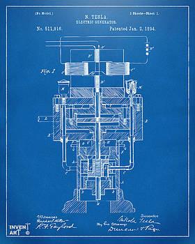 1894 Tesla Electric Generator Patent Blueprint by Nikki Marie Smith