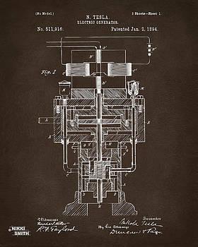 1894 Tesla Electric Generator Patent Espresso by Nikki Marie Smith
