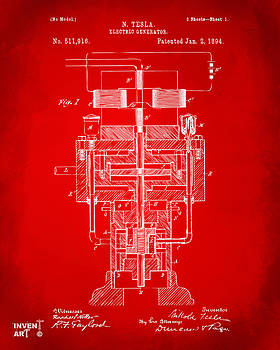 1894 Tesla Electric Generator Patent Red by Nikki Marie Smith
