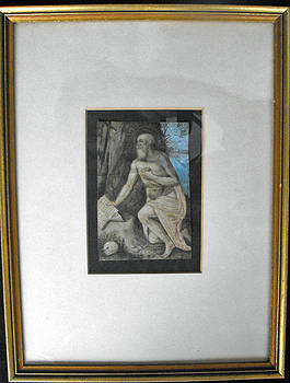 18th. century Continental school watercolor depicting St. Jerome by Unknown