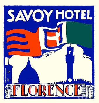 1910 - Savoy Hotel - Florence Italy - Poster - Color by John Madison