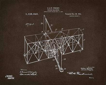 Nikki Marie Smith - 1914 Wright Brothers Flying Machine Patent Espresso