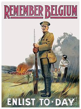 1915 - British Enlistment Poster - Remember Belgium - World War One - Color by John Madison