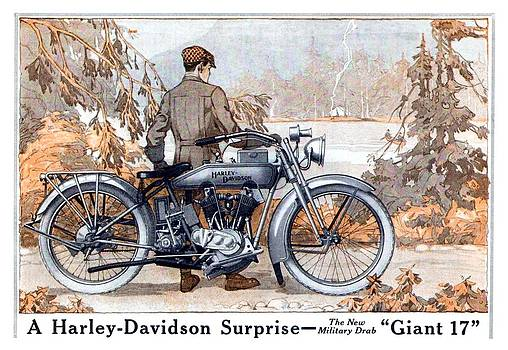 1917 - Harley Davidson Giant 17 Motorcycle Advertisement - Color by John Madison