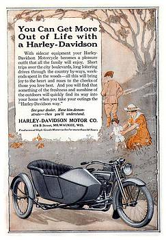 1917 - Harley Davidson Motorcycle with Sidecar Advertisement - Color by John Madison