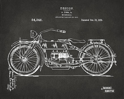 Nikki Marie Smith - 1919 Motorcycle Patent Artwork - Gray