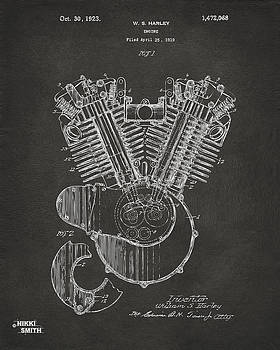 Nikki Marie Smith - 1923 Harley Engine Patent Art - Gray