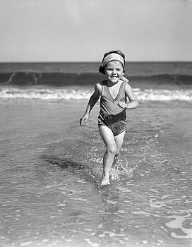1930s Smiling Little Girl Running by Vintage Images