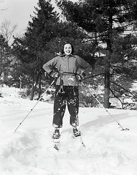 1930s Smiling Woman On Skis Hands by Vintage Images