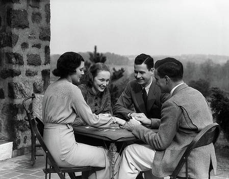 1930s Two Couples Playing Cards by Vintage Images