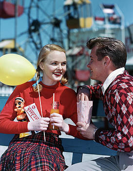 1940s 1950s Young Couple At Amusement by Vintage Images