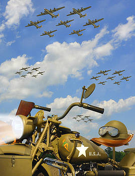 1943 Harley WFC with B - 24 Liberators 2c by Mike McGlothlen