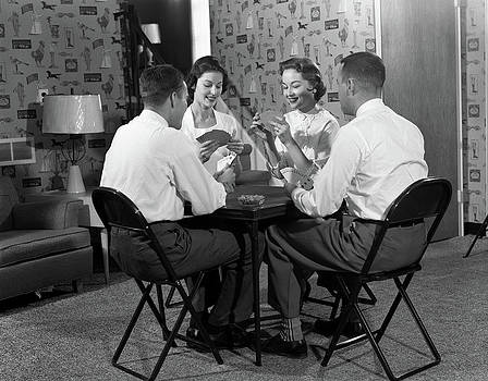 1950s Two Couples Seated At Folding by Vintage Images