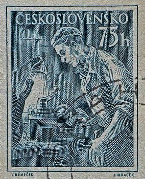 Bill Owen - 1954 Czechoslovakian Lathe Operator Stamp