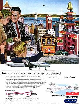 John King - 1954 United Airlines Ad San Francisco Theme