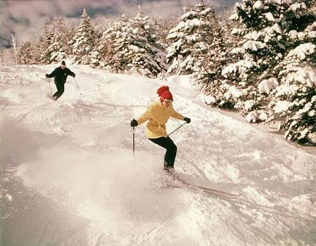 1960s 1970s Two People Man Woman Skiing by Vintage Images