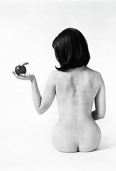 1960s Back View Of Nude Brunette Seated by Vintage Images