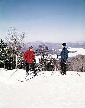 1960s Couple Man Woman Skiers On Top by Vintage Images