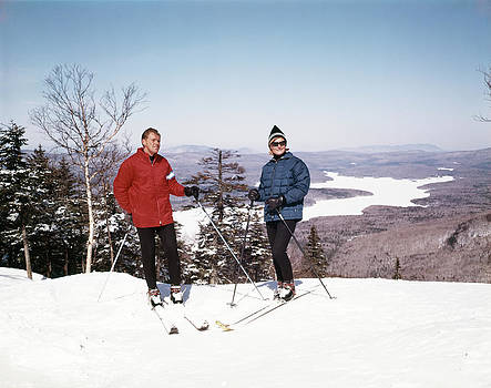 1960s Couple Man Woman Skiers Standing by Vintage Images