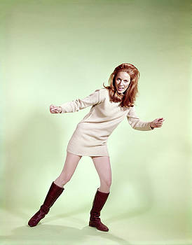 1960s Woman Dancer Boots Tan Mini-skirt by Vintage Images