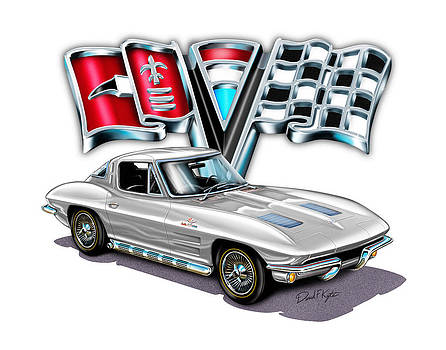 1963 Corvette Split Window in Silver  by David Kyte