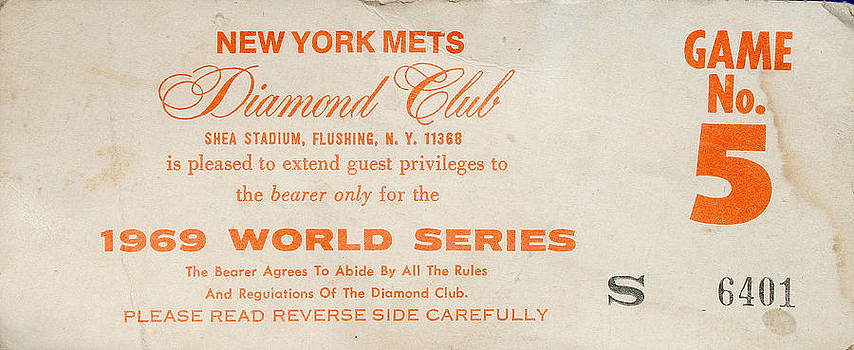 1969 World Series Diamond Club Ticket by Melinda Saminski