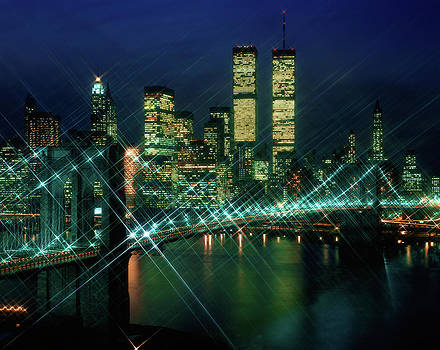 1980s Lower Manhattan Skyline At Night by Vintage Images