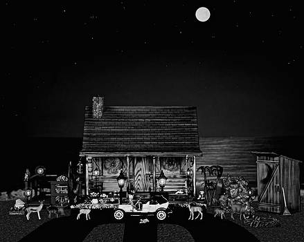 B/w Log Cabin And Outhouse Scene With The Classic Old Vintage 1908 Model T Ford by Leslie Crotty