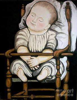 Baby In High Chair by Robert Arsenault