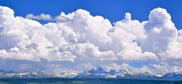 Backside Tetons and Clouds by Larry Bodinson