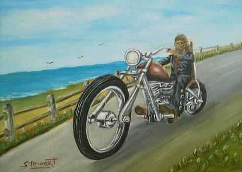 Biker by Ocean by Nancy Stewart