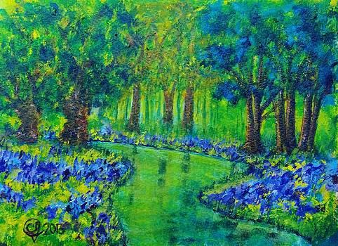 Blue Hydrangeas by the Stream by Catherine Jeffrey