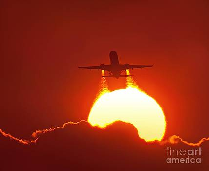 David Nunuk - Boeing 737 Taking Off At Sunset