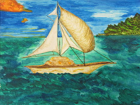 Camouflage Sailboat by Debbie Nester