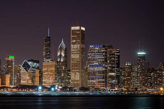 Chicago Skyline at Night by Robert Painter