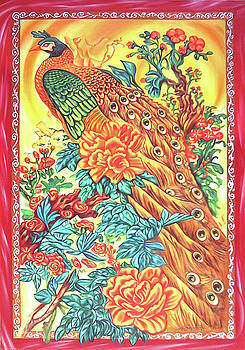 Chinese peacock in red frame by Ismaele Alongi