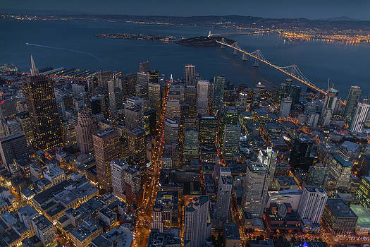 Cityscape Of San Francisco At Sunset by Peter Essick