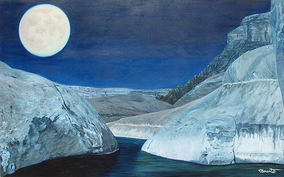 Cold water passage beneath full moon by Barbara Barber