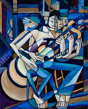 Cubist Descending Guitar by Terrie  Rockwell