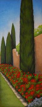 Cypress and Roses by Gayle Faucette Wisbon