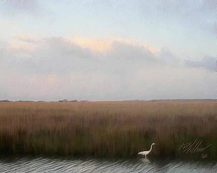 Evening Marsh with Egret  by Forest Stiltner
