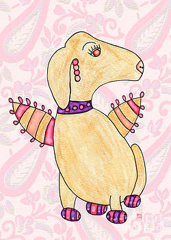 Golden Mavi with Pink Wings 2 by Emily Lupita Studio