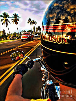 Heading Out On Harley by Joan  Minchak
