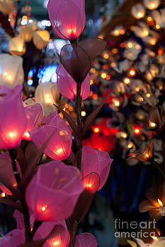 Fototrav Print - Illuminated Silk flowers in Bangkok Thailand