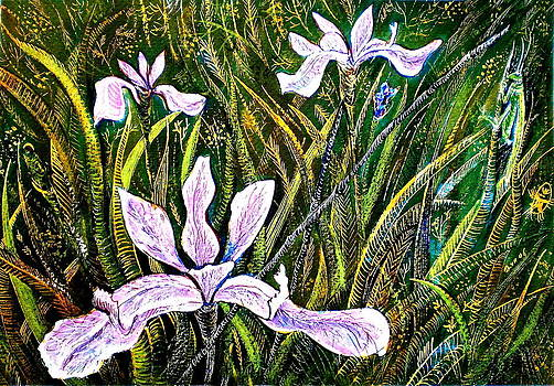 Ion vincent DAnu - Irises and Grasshopper