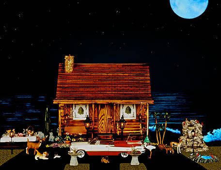 Log Cabin Scene With The Classic 1959 Dodge Royle Convertible In Color by Leslie Crotty