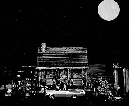 Log Cabin Scene With The Classic Old Vintage 1959 Dodge Royal Convertible In Black And White by Leslie Crotty
