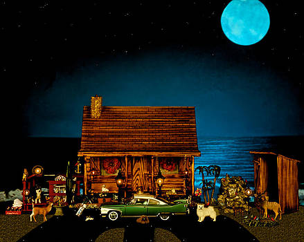 Miniature Log Cabin Scene With The Old Vintage Classic 1960 Plymouth Fury In Color by Leslie Crotty