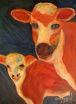 Momma cow and calf by Jodie  Scheller